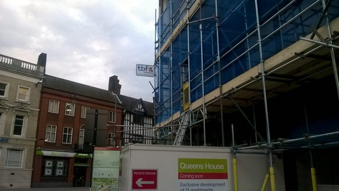 Scaffolding in Queen Street Ipswich