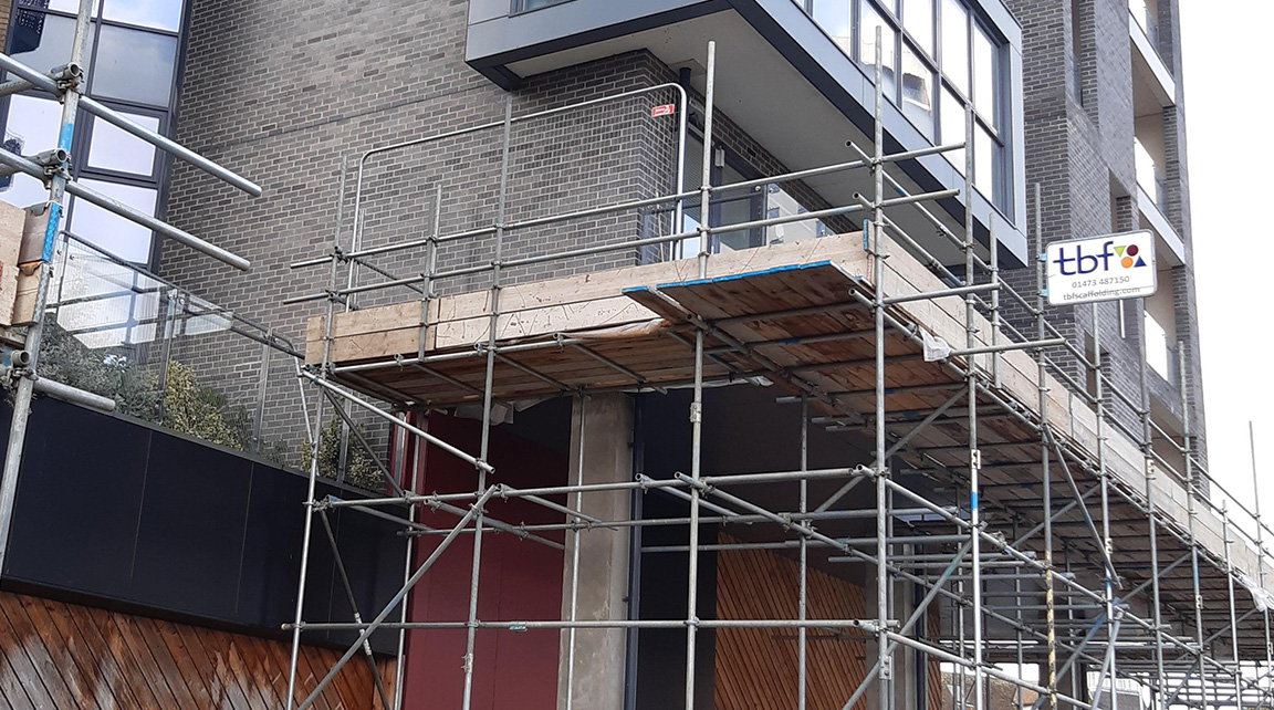 Scaffolding on Stoke Quay building